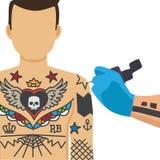 Tatuera processillustrationen vektor illustrationer