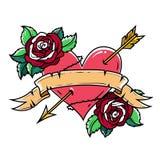 Tatuera röd hjärta som trängas igenom av pilen med bandet och rosor Symbol av förälskelse och passion royaltyfri illustrationer