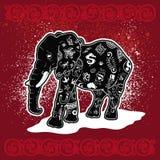 Tatuerad illustrationelefant Arkivbilder