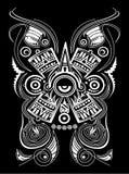 Tatuerar det Mayan Aztec begreppet stiliserade symbolvektorillustrationen, stam- stil stock illustrationer
