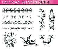 tatuering för 4 set former Royaltyfri Fotografi