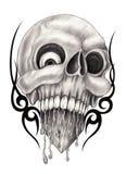 Tatuering för konstskallehjärta Arkivbilder