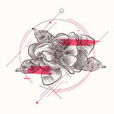 Tatueringblomma med blom- beståndsdelar i dotworkstil stock illustrationer