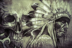 Tatueringen skissar av krigare för indian stam- chef med skallen Royaltyfri Bild