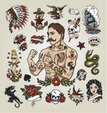 Tatueringexponeringsuppsättning tatueringhipsterman och olika tatueringbilder Arkivbilder