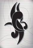 Tatueringhandstil på papper fodrad anmärkning Royaltyfri Fotografi