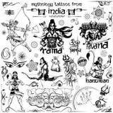 Tatueringkonstdesign av den Lord Rama, Ravana och Hanuman samlingen Arkivfoto