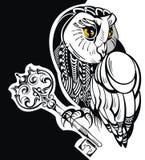 Tatueringuggla med tangent royaltyfri illustrationer