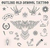 Tatueringuppsättning för gammal skola Tecknad filmtatueringbeståndsdelar i rolig stil: ankare uggla, stjärna, hjärta, diamanter,  Royaltyfri Bild