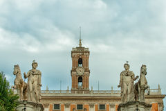 Tatues of the Dioscuri in Rome, Italy Stock Photos