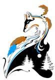 Tatui la volpe di stile con gli elementi dell'inverno per i saloni e le stampe royalty illustrazione gratis