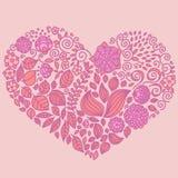 Tatuuje kwiecistego doodle wektorowych elementy ustawiających w sercu ilustracja wektor