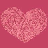 Tatuuje kwiecistych doodle elementy ustawiających w serce formie Używać dla royalty ilustracja