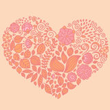 Tatuuje kwiecistych doodle elementy ustawiających w serce formie Używać dla Obrazy Stock