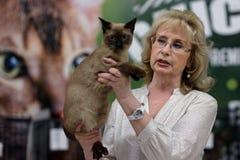 Tatyana Tarasenko z kotem podczas Światowego kota przedstawienia fotografia royalty free