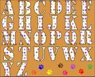 Tatze-Druck-Alphabet-Zeichen stock abbildung