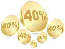 έκπτωση σαράντα τοις εκα&tau Στοκ Φωτογραφία