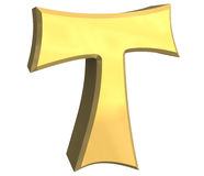 Tau cross in gold - 3D Royalty Free Stock Images