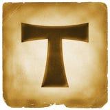 Tau cross symbol on old paper Stock Photo