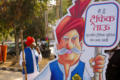 Tau du trafic ; jour de rahagiri dans le gurgaon Images libres de droits
