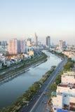 Tau Hu Canal från hög sikt i den Ho Chi Minh staden, Vietnam Royaltyfri Foto