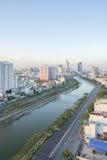 Tau Hu Canal från hög sikt i den Ho Chi Minh staden, Vietnam Royaltyfria Foton