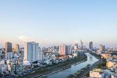 Tau Hu Canal från hög sikt i den Ho Chi Minh staden, Vietnam Fotografering för Bildbyråer