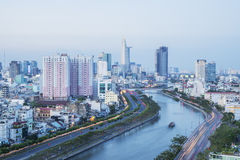 Tau Hu Canal från hög sikt i den Ho Chi Minh staden, Vietnam Arkivbilder