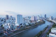 Tau Hu Canal från hög sikt i den Ho Chi Minh staden, Vietnam Royaltyfri Fotografi