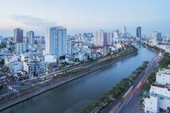Tau Hu Canal från hög sikt i den Ho Chi Minh staden, Vietnam Arkivbild