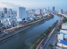 Tau Hu Canal från hög sikt i den Ho Chi Minh staden, Vietnam Arkivfoton