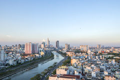 Tau Hu Canal from high view in Ho Chi Minh city, Vietnam. Tau Hu Canal from high view in the evening, Ho Chi Minh city, Vietnam. Ho Chi Minh city, Vietnam. Ho Royalty Free Stock Photography