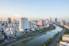 Tau Hu Canal von der hohen Ansicht in Ho Chi Minh-Stadt, Vietnam stockbilder