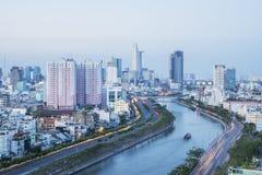 Tau Hu kanał od wysokiego widoku w Ho Chi Minh mieście, Wietnam obrazy stock