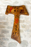 TAU, teken van Heilige Francis van Assisi stock foto