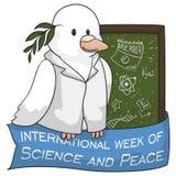 Taube als Wissenschaftler Celebrating International Week der Wissenschaft und des Friedens, Vektor-Illustration vektor abbildung