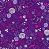 Taube-und Blumen-nahtloses Wiederholungs-Muster Stockfoto