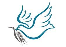 Taube und ein Zweig des Weizens Lizenzfreie Stockfotografie