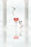 Taube und Katze Stockbild