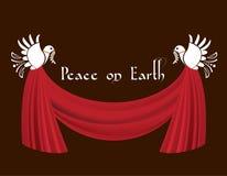 Tauben des Friedens mit Swagtrennvorhang Stockfotografie