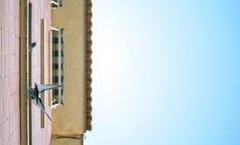 Tauben, die auf dem Fenster eines Hauses unten schaut stehen lizenzfreies stockfoto