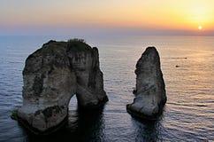 Tauben-Felsen in Beirut Lizenzfreie Stockbilder