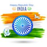 Taubenfliegen mit der indischen dreifarbigen Flagge, die Frieden zeigt Stockfotografie