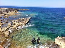 Tauchen in das blaue Malta Lizenzfreie Stockfotos