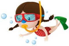 Tauchen des kleinen Mädchens unter dem Meer stock abbildung
