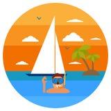 Tauchen im tropischen Meer vor Paradiesinsel Setzen Sie Ferien, Palme, Delphin, tauchende Maske, Schnorchel, Segelsport auf den S stock abbildung