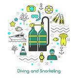 Tauchen, Unterwasseratemgerät-Ausrüstungs-Linie Art Icons schnorchelnd vektor abbildung