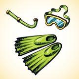 Tauchende Schnorchel und Schutzbrillen Blumenhintergrund mit Gras lizenzfreie abbildung