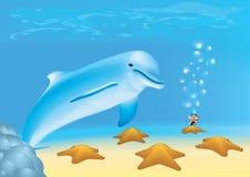 Taucher betrachtet einen Delphin und Meersterne lizenzfreies stockbild