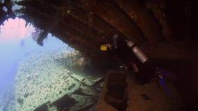 Taucher cameramans Taucherschwimmen in Schiffswrack Underwater von Rotem Meer stock video